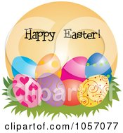Happy Easter Greeting Over Colorful Eggs On An Orange Circle