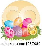 Royalty Free Vector Clip Art Illustration Of Easter Eggs In Grass Against An Orange Circle by Pams Clipart