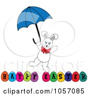White Bunny With An Umbrella Over Happy Easter Eggs