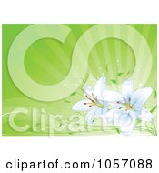Royalty Free Vector Clip Art Illustration Of Light Blue Lilies Over Green Rays by Pushkin