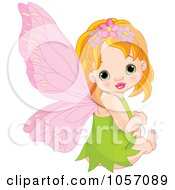 Royalty Free Vector Clip Art Illustration Of A Little Fairy Girl With Spring Flowers In Her Hair