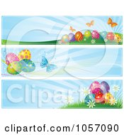 Royalty Free Vector Clip Art Illustration Of A Digital Collage Of Easter Egg And Butterfly Website Banners With Blue Rays by Pushkin