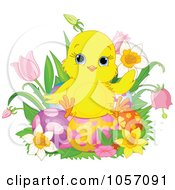 Poster, Art Print Of Cute Chick Sitting On Easter Eggs Surrounded By Spring Flowers