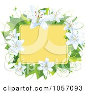 Royalty Free Vector Clip Art Illustration Of A Frame Of Easter Lilies And Leaves by Pushkin