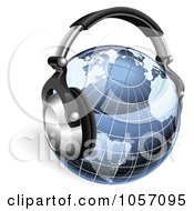 Royalty Free Vector Clip Art Illustration Of A 3d Blue Grid Globe With Headphones