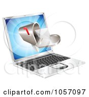 Royalty Free Vector Clip Art Illustration Of A 3d Mailbox Coming Out Of A Laptop Screen