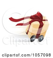 Royalty Free Vector Clip Art Illustration Of A Fast Gift Box On Wheels by AtStockIllustration
