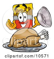 Clipart Picture Of A Paint Brush Mascot Cartoon Character Serving A Thanksgiving Turkey On A Platter by Toons4Biz