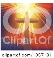 Royalty Free Vector Clip Art Illustration Of A Dramatic Light Shining Over A Christian Cross