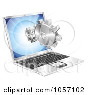 Royalty Free Vector Clip Art Illustration Of 3d Gears Coming Out Of A Laptop Screen