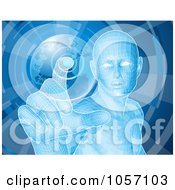 Royalty Free Vector Clip Art Illustration Of A Futuristic Blue Person Pushing A Globe Button
