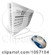 Royalty Free Vector Clip Art Illustration Of A 3d Computer Mouse Connected To A Daily Newspaper