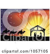 Royalty Free Vector Clip Art Illustration Of A Silhouetted Traditional Christian Nativity Scene With The Three Wise Men And The Manger Against Rays