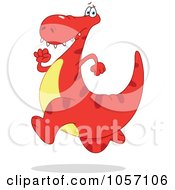 Royalty Free Vector Clip Art Illustration Of A Red Dinosaur Running by yayayoyo