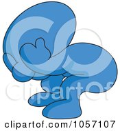 Royalty Free Vector Clip Art Illustration Of A Blue Toon Guy Pouting by yayayoyo