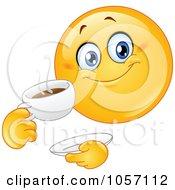 Royalty Free Vector Clip Art Illustration Of An Emoticon Drinking Coffee by yayayoyo #COLLC1057112-0157