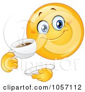 Royalty Free Vector Clip Art Illustration Of An Emoticon Drinking Coffee by yayayoyo