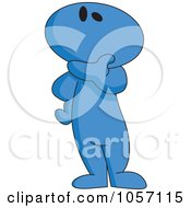 Royalty Free Vector Clip Art Illustration Of A Blue Toon Guy Thinking by yayayoyo