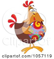 Royalty Free Vector Clip Art Illustration Of A Chicken Holding A Colorful Easter Egg by yayayoyo