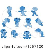 Royalty Free Vector Clip Art Illustration Of A Digital Collage Of Blue Toon Guys by yayayoyo