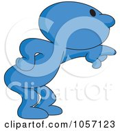 Royalty Free Vector Clip Art Illustration Of A Blue Toon Guy Pointing by yayayoyo