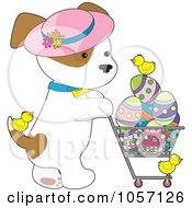 Royalty Free Vector Clip Art Illustration Of A Puppy Wearing A Hat And Pushing A Cart Of Easter Eggs And Chicks by Maria Bell