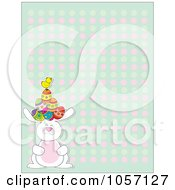 Royalty Free Vector Clip Art Illustration Of An Easter Background Of A Chick And Eggs On A Bunnys Head Over A Pastel Pattern by Maria Bell