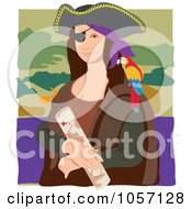 Royalty Free Vector Clip Art Illustration Of A Portrait Of Mona Lisa As A Pirate With White Edges by Maria Bell