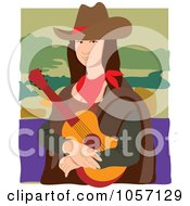 Royalty Free Vector Clip Art Illustration Of A Portrait Of Mona Lisa As A Cowgirl With White Edges