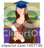 Royalty Free Vector Clip Art Illustration Of A Portrait Of Mona Lisa As A Graduate With White Edges