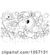 Royalty Free Clip Art Illustration Of A Coloring Page Outline Of A Parrot Artist Coloring by Alex Bannykh