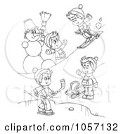 Royalty Free Clip Art Illustration Of A Coloring Page Outline Of Boys Playing In The Snow