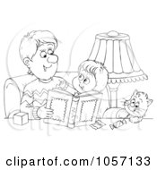 Coloring Page Outline Of A Father Reading To His Cat And Son