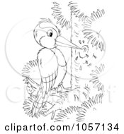 Royalty Free Clip Art Illustration Of A Coloring Page Outline Of A Woodpecker by Alex Bannykh