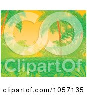 Royalty Free Clip Art Illustration Of A Tropical Foliage Background With Lush Green Plants And Palm Trees