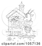 Royalty Free Clip Art Illustration Of A Coloring Page Outline Of Goat Kids Waving To Their Mom by Alex Bannykh