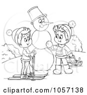 Royalty Free Clip Art Illustration Of A Coloring Page Outline Of Children Making A Snowman