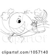 Royalty Free Clip Art Illustration Of A Coloring Page Outline Of An Artist Whale Swimming With Supplies by Alex Bannykh