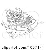 Royalty Free Clip Art Illustration Of A Coloring Page Outline Of Aliens In Their Spaceship