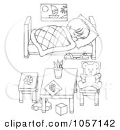 Royalty Free Clip Art Illustration Of A Coloring Page Outline Of A Boy Sleeping In His Bedroom