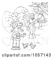 Royalty Free Clip Art Illustration Of A Coloring Page Outline Of Children Feeding Birds by Alex Bannykh