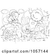 Royalty Free Clip Art Illustration Of A Coloring Page Outline Of Puss In Boots Watching A Rabbit by Alex Bannykh