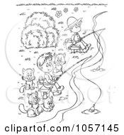 Coloring Page Outline Of Boys And Cats Fishing