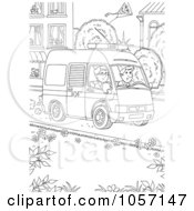Royalty Free Clip Art Illustration Of A Coloring Page Outline Of An Ambulance by Alex Bannykh