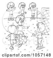 Royalty Free Clip Art Illustration Of A Coloring Page Outline Of Boys Playing Soccer by Alex Bannykh