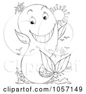 Royalty Free Clip Art Illustration Of A Coloring Page Outline Of A Whale Jumping