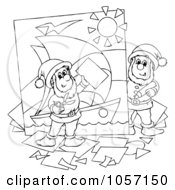Royalty Free Clip Art Illustration Of A Coloring Page Outline Of Elves Creating A Picture by Alex Bannykh