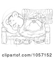 Royalty Free Clip Art Illustration Of A Coloring Page Outline Of A Sleeping Bear