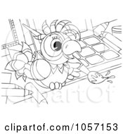 Royalty Free Clip Art Illustration Of A Coloring Page Outline Of A Parrot Artist Painting by Alex Bannykh