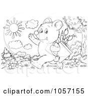 Royalty Free Clip Art Illustration Of A Coloring Page Outline Of A Bear Cub Walking To School by Alex Bannykh